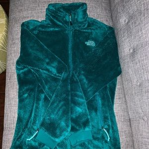 Blue/green north face zip up jacket
